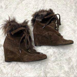 Stuart weitzman faux fur wedge brown booties